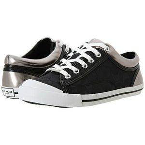 Coach 7B Sneakers Francesca Black Silver Monogram
